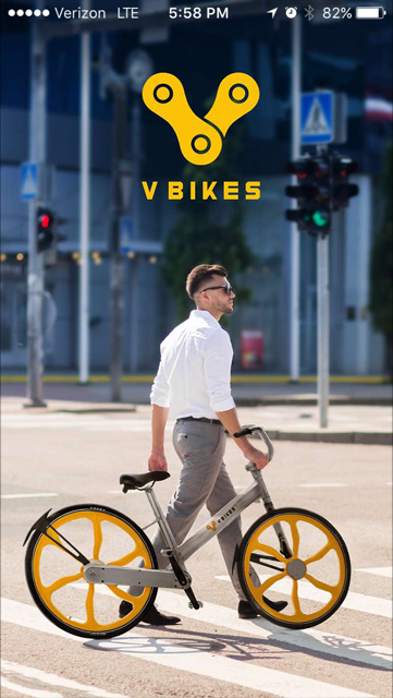 VBikes App Home Screen Image