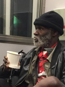 homeless guy riding the DART train in Dallas