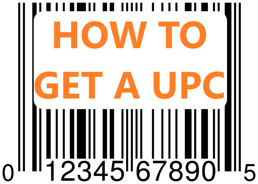photo of a barcode with UPC that says how to get a upc for a new product to sell on Amazon